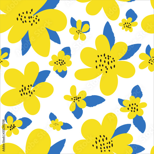 seamless-floral-pattern-bright-yellow-flowers-leaves-in-a-simple-hand-drawn-style-on-a-white-background-modern-abstract-design-trendy-botanical-texture-ornament-vector-illustration