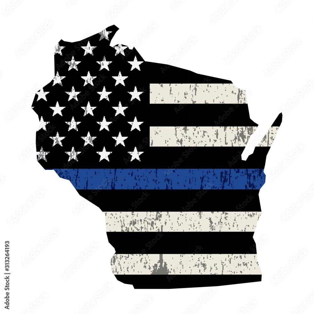Fototapeta State of Wisconsin Police Support Flag Illustration