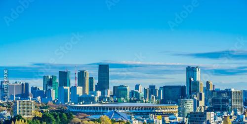 Fotomural 新国立競技場 国立競技場 風景 日本 東京 オリンピック スタジアム 都市風景 青空 鳥瞰図