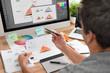 canvas print picture - Graphic designer drawing sketches logo design.