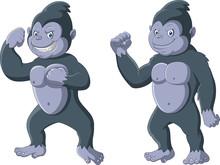 Cartoon Funny Gorilla Standing...