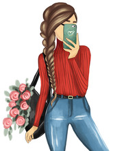 Hand Drawn Beautiful Young Woman With Backpack And Flowers Making Selfie. Stylish Pretty Girl Model. Fashion Sketch