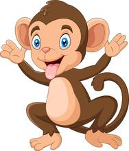 Cartoon Happy Monkey Waving Hand