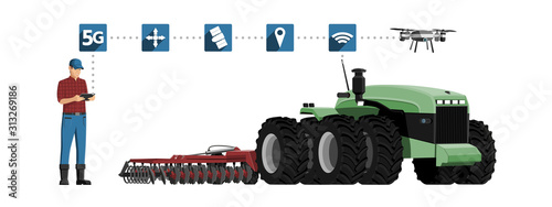 Aufkleber - 5G network for control autonomous agriculture machines. Smart farming 4.0. Vector illustration