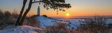 Fototapeta Fototapety z naturą - scenic sunrise on the laid back Baltic island of Hiddensee in beautiful winter landscape