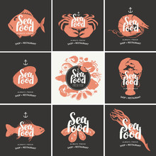 Set Of Vector Banners For Seafood Shop Or Restaurant. Illustrations Of Fishes, Crustaceans, Mussels And Other Sea Inhabitants With Calligraphic Inscriptions. Always Fresh Seafood.