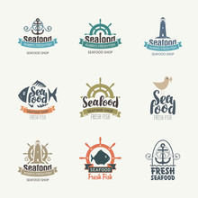Set Of Vector Logos On The Theme Of Seafood In Retro Style. Collection Of Badges, Stickers, Icons, Signs, Symbol, Design Elements And Emblems For Fish Restaurant Or Shop. Food Design Concept.