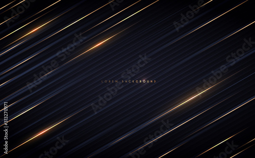 Fotografia  Golden lines on dark background