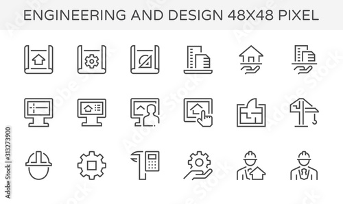 Obraz engineering architecture design icon - fototapety do salonu