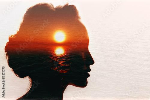 Obraz Conceptual double exposure. Sunrise in the woman head. - fototapety do salonu