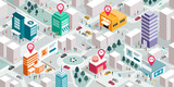 Fototapeta Miasto - Isometric city map with people, buildings and pin pointers