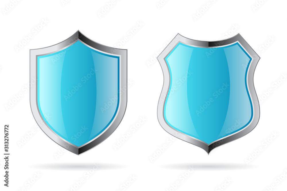 Fototapeta Blue secure shields vector icons