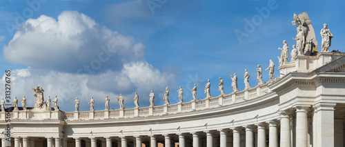 Photo Panorama of the Statues in Saint Peters Square Vatican City, Rome