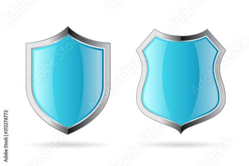 Fotografie, Obraz Blue secure shields vector icons