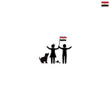 Iraqi Children With National Flag Of The Republic Of Iraq, Future Of Iraq Concept, Sign Symbol Background, Vector Illustration.