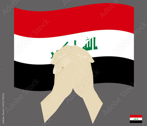 Praying hands with the Republic of Iraq National Flag, Pray for Iraq concept, Save Iraq, cartoon graphic, sign symbol background, vector illustration Billede på lærred