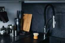 Dark Stone Kitchen Sink And Wo...