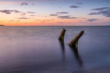 Old Wooden Piles On The Beach.Baltic Sea, Rewa, Poland