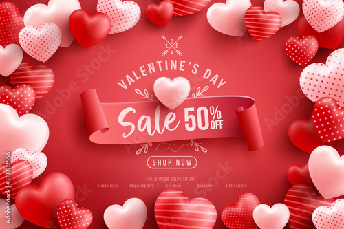 Obraz Valentine's Day Sale 50% off Poster or banner with many sweet hearts and on red background.Promotion and shopping template or background for Love and Valentine's day concept.Vector illustration eps 10 - fototapety do salonu