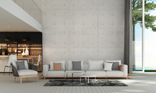 Modern Luxury Mediterranean Living Room Interior Design And Concrete Wall Background And Sea View
