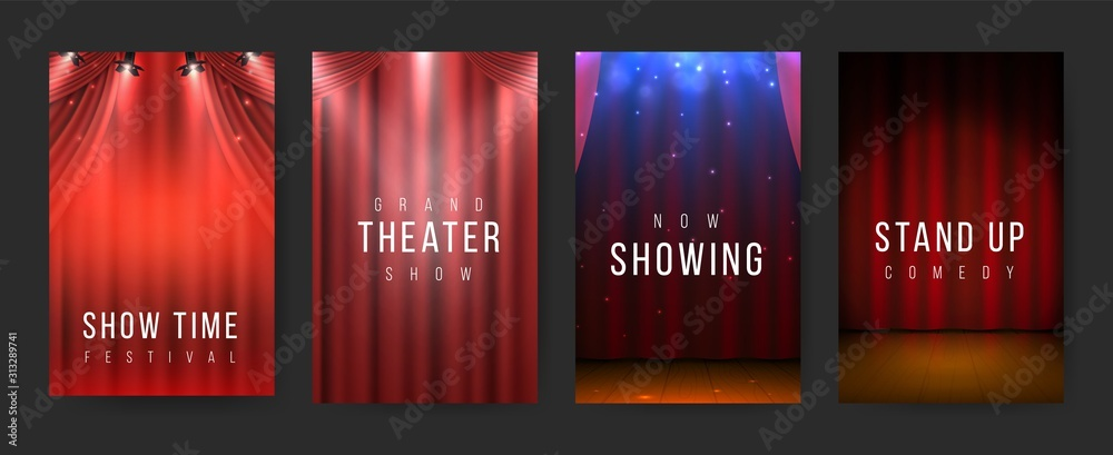 Fototapeta Theater posters. Red curtains stage flyers, vintage scene textile. Vector illustration night show banners or poster set with spotlight for presentation or show