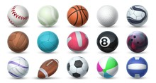Realistic Sport Balls. 3D Equipment For Football, Soccer, Baseball, Golf And Tennis. Vector Set Illustration Of Balls For Professional Sport Activities And Games Isolated On White Background