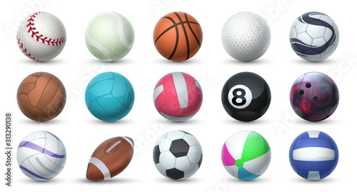 Fototapeta Realistic sport balls. 3D equipment for football, soccer, baseball, golf and tennis. Vector set illustration of balls for professional sport activities and games isolated on white background obraz