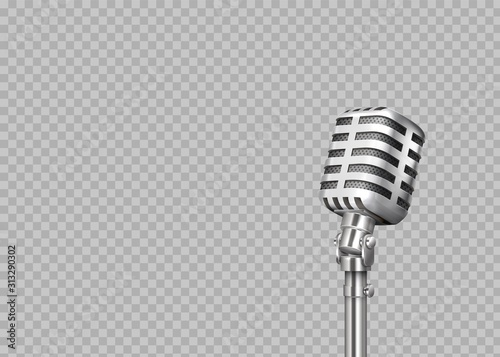 Realistic microphone. 3D professional metal mics on transparent background. Stand-up and blogging equipment. Vector illustration front view steel mic for concert, record studio
