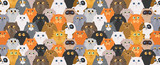 Fototapeta Cats - Cat poster. Cartoon cat characters seamless pattern. Different cat`s poses and emotions set. Flat color simple style design