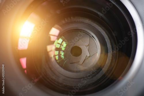 Obraz Camera lens with lense reflections - fototapety do salonu