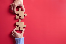 Two Hands Holding Jigsaw, Conc...