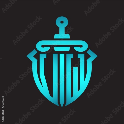 Photo  VW Logo monogram with sword and shield combination isolated blue colors gradient