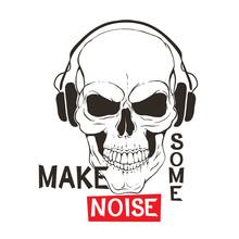 Skull With Headphones Listen M...