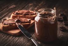 Close Up Of Jar Of Chocolate N...