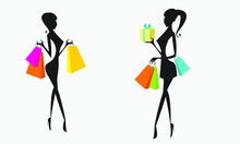 Business Women With Shopping B...