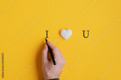 Obraz Male hand writing an I love you sign - fototapety do salonu