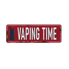 Vaping Time Vintage Rusty Metal Sign On A White Background, Vector Illustration