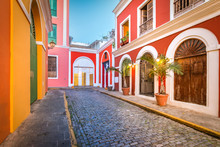 Cobblestone Street In Old San Juan, Puerto Rico. Evening View.