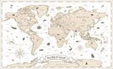 Fototapeta Fototapety na ścianę do pokoju dziecięcego - World Map Vintage Cartoon Detailed - vector