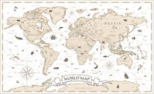 World Map Vintage Cartoon Deta...