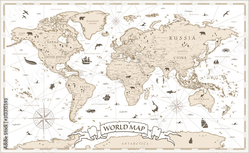 World Map Vintage Cartoon Detailed - vector Wallpaper Mural