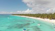 Drone shot of paradise beach on Dominicana