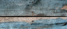 Wood Texture Background Of Old Boards With Light Blue Paint And Nails For Web Design
