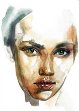 Caucasian Woman Portrait Hand Drawn Watercolor Illustration