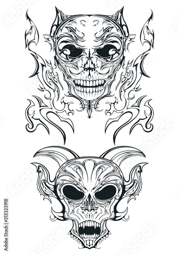 two hell cemetery skulls gothic style Wallpaper Mural