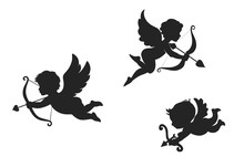Set Of Cupid Icon. Wedding And Valentine's Day Design Element