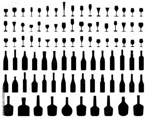 Carta da parati Silhouettes of glasses and bottles of wine on a white background, vector