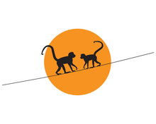 Monkeys Silhouettes On Wire On...