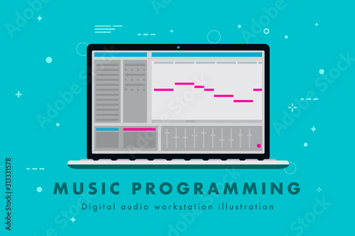 Music Programming Digital Audio Workstation Illustration Of A Laptop With Music Creation Software Create Your Own Song Concept With Midi And Interface Vector Eps Format Buy This Stock Vector And