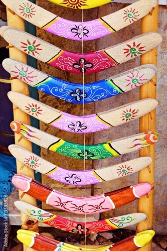 boomerang colorati in vendita in un negozio di souvenir nella regione dell'Algar Canvas Print
